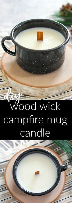 DIY Wood Wick Campfire Mug Candle is a natural soy wax candle perfumed with an autumn leaves fragrance oil. Enjoy the smell and crackling of the wood wick. #candlemakingdiy #candlemakingtips