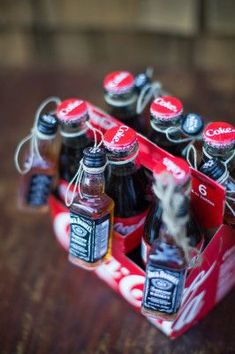 Jack and Coke Party Favors | Photograph by Kiel Rucker Photography http://storyboardwedding.com/private-mountain-wedding-lake-sierra-nevada-mountains/