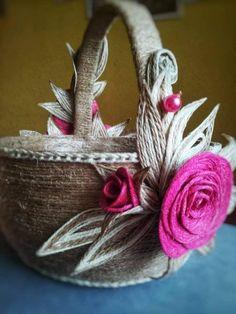 Jute Crafts, Basket Decoration, Bottle Crafts, Twine, Macrame, Things To Do, Goodies, Diy, Camping
