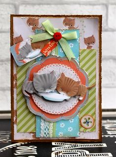 Distressed Little Meow Card | docrafts.com