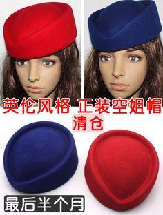 Wholesale Fasion women British style nobility fedoras stewardess cap hat cashmere hat overcoat uniform cap hat female
