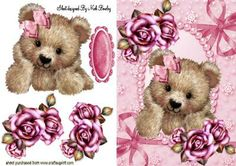 CUDDLY TEDDY IN PINK ROSE PEARL FRAME on Craftsuprint designed by Nick Bowley -  CUDDLY TEDDY IN PINK ROSE PEARL FRAME, Makes a pretty card, lots of other designs to see - Now available for download!