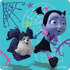 Meet the newest neighbor from Transylvania - Vee! Young kids will love the stickers in this assortment featuring characters from the hit Disney Junior show Vampirina. Disney Frozen Party, Disney Cars Party, Disney Princess Party, Disney Junior, Disney Halloween, Princess Party Supplies, Disney World Pictures, Cute Christmas Wallpaper, Good Night Greetings
