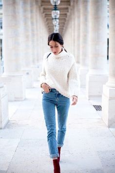 winter outfit with a white turtleneck, jeans, and burgundy boots #fashion #idea