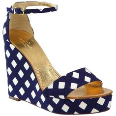 Pre-owned Kate Spade New Gingham Wedges 7.5 Box Nib Navy Blue Sandals ($179) ❤ liked on Polyvore featuring shoes, sandals, navy blue, wedge sandal, summer sandals, kate spade sandals, navy blue wedge shoes, ankle wrap wedge sandals and summer shoes