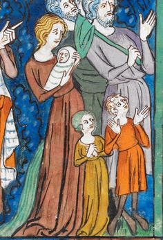 Charlemagne moving the Saxons from beyond the Elbe; Pope Leo III celebrating a mass before Charlemagne (Charlemagne,book Les Grandes chroniques de France Royal MS VI.Was commissioned by the future John II as Duke of Normandy Medieval Fashion, Medieval Clothing, Medieval Art, 14th Century Clothing, Pope Leo, Fairytale Art, Historical Art, Stone Carving, Illuminated Manuscript