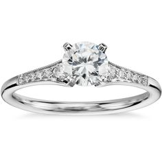Blue Nile 1/2 Carat Preset Graduated Milgrain Diamond Engagement Ring (88,645 PHP) ❤ liked on Polyvore featuring jewelry, rings, accessories, wedding, bagues, round engagement rings, diamond engagement rings, wedding rings, diamond wedding rings and 14k diamond ring