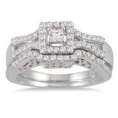 Marquee Jewels 10k White Gold 3/5ct TDW Diamond Halo Bridal Ring Set (I-J, I1-I2)