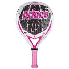 Pala de padel Prince Premier Propulsion Esf Sq Lady de color rosa, negro y blanco.