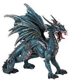 "8"" Blue and Grey Dragon Decorative Figurine Fantasy Statue Collectible"