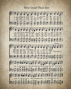 How Great Thou Art Hymn Print - Sheet Music - Large Wall Art - Hymn Art - Hymnal Sheet - Home Decor - Music - Hymn Lyrics Bible Print Sheet Music, Sheet Music Art, Music Sheets, Piano Sheet, Piano Music, Music Music, Music Notes, Church Songs, Church Music