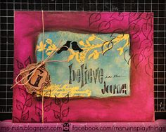 8x10 canvas made for a friend using Dyan Reaveley's Dylusions ink sprays, stamps, and a stencil by Prima.  See blog for more...