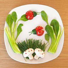 fun food ideas:  another great veggie plate.  Ladybug's Garden 1. Make the bugs with cherry tomatoes, cucumbers, and chive antennae. 2. Place arugula on both sides.  3. Top a bed of chives with a halved mushroom.