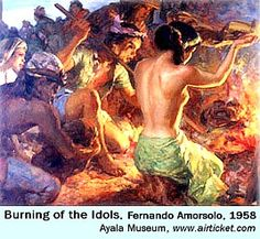 Burning of pagan idols,the rise of catholicism in the philippines Filipino Art, Filipino Culture, Value Painting, Philippine Art, Indonesian Art, Gifts For Photographers, Square Photos, Flash Photography, Great Words