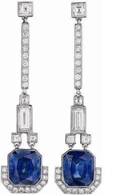 A Pair of Diamond and Sapphire Ear Pendants