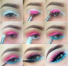 Superb Summer Blue and Pink Eye Makeup Tutorial #eyemakeuptutorial
