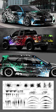 Honda Civic, Car Paint Jobs, Truck Decals, Drifting Cars, Car Mods, Car Tuning, Car Painting, Car Wrap, Car Stickers