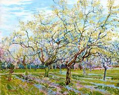 VAN GOGH SPRING BLOSSOMS ON FRUIT TREES FARM LANDSCAPE PAINTING ART CANVAS PRINT #Impressionism
