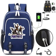 fa7135b78707 Fortnite Backpack with USB Charging Port and Lock  amp  Headphone interface  for College Student Work