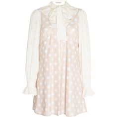 JW Anderson Polka Dot Mini Dress With Ditsy Floral Blouse ($1,030) ❤ liked on Polyvore featuring dresses, pink, short pink dress, long-sleeve mini dress, pink polka dot dress, pink ruffle dress and long sleeve ruffle dress
