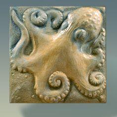 Octopus Stone Sculpture Tile, Bas-relief Sculpture, Wall Sculpture, Wall Art, Original Art Tile, Garden Art, Unique, Collectible, Animal