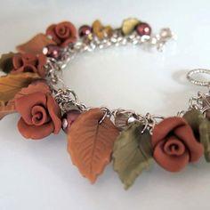 Autumn Rose Garden Bracelet Polymer Clay by beadscraftz on Etsy, $40.00