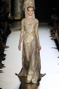 Ellie Saab golden gown.