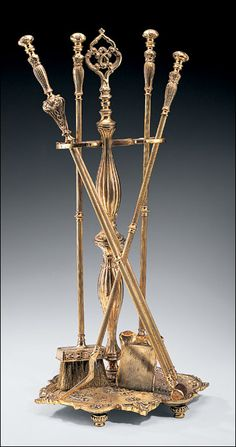 Cast Brass Fireplace Tools