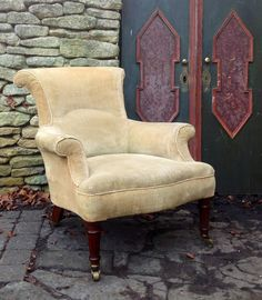 c.1850s Antique 19th Century Victorian  Fluted Walnut Leg Armchair from Hutchisonantiques.com