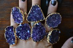 LUX DIVINE /// Amethyst Cluster Druzy /// Stackable Gemstone Gold Electroformed Ring
