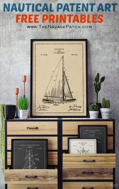 12 Free Nautical Wall Art Printables/Vintage Patent Art - The Navage Patch