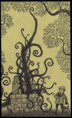 Edward Gorey is one of my favorite artists. What if he had illustrated Lovecraft's stories or created artwork with Lovecraftian themes? The art of John Kenn Mortensen might be the result. Creepy Drawings, Creepy Art, Amazing Drawings, Arte Post It, Post It Art, Art Et Illustration, Illustrations, Don Kenn, Art Sinistre