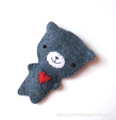 Felt Brooch; Blue Grey bear by MiKa Art, via Flickr