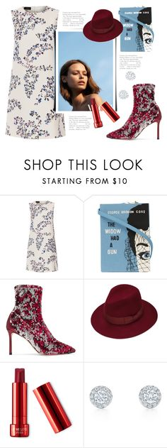 """""""dress"""" by bellamonica ❤ liked on Polyvore featuring Les Copains, Olympia Le-Tan, Jimmy Choo and Justine Hats"""