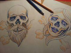 Neo traditional skull nautical pirate