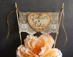 Cake Topper Burlap & Lace Bunting Flag Banner Wood Heart Names Rustic Country Shabby Chic via Etsy