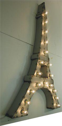Vintage Industrial Paris Eiffel Tower Metal Sign Light Sculpture Art. $395.00, via Etsy.