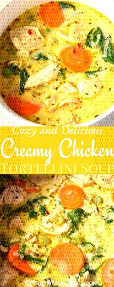 Try this best,easy and healthy recipe of creamy chicken tortellini soup.This tortellini soup is with lots of veggies of your choice along with spinach,cream,chicken. Cheese Tortellini Recipes, Spinach Tortellini Soup, Chicken Soup Recipes, Easy Soup Recipes, Healthy Recipes, Chicken Pasta, Spinach Chicken Soup, Healthy Chicken Soup, Homemade Chicken Soup