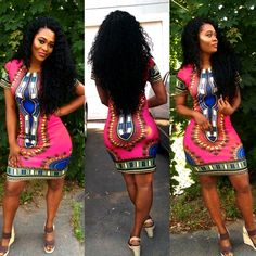 Clothing Apparel : Pink Dashiki Dress