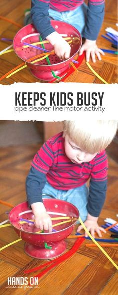 Just pipe cleaners and a colander - such a simple fine motor activity for toddlers to try. via @handsonaswegrow