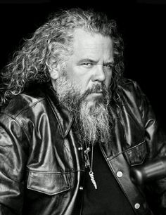 "Bobby - Mark Boone Jr. as Robert ""Bobby Elvis"" Munson. Sons of Anarchy, SAMCRO, SOA, bikers, brothers, family, great tv, beard, long hair style, powerful face, intense eyes, portrait, photo b/w."