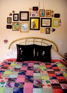 Framed art over bed - I like this layout
