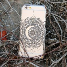 Mandala Moon Phone Case iphone case featuring a crescent moon, mandala black and white henna design. Fits iphone 5, 5s, 6 and 6 plus