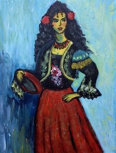 Olé! Stolz und in Tracht präsentiert sich diese Lady. Ein kleines Format von einer noch kleineren Vorlage gemalt - von einer Beginnerin. Kommen Sie in die #kreativmanufaktur und lassen Sie sich mit Claudia Königsmann auf das Abenteuer Kunst ein!