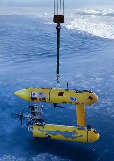 The robot submarine ready for launch from an icebreaker offshore Antarctica. - Peter Kimball, WHOI