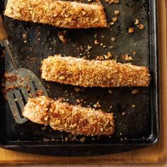 """Walnut-Crusted Salmon Recipe- Recipes  """"Whenever I can get salmon for a good price, I always turn to this simple and delicious recipe. It's good served with mashed potatoes and fresh green beans, too."""" —Edie DeSpain, Logan, Utah"""