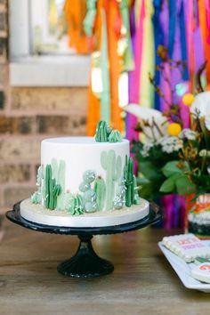 Cactus Cake from an Outdoor Fiesta Birthday Party on Kara's Party Ideas | KarasPartyIdeas.com