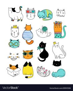 Cat doodles, collection of vector illustrations - Buy this stock vector and explore similar vectors at Adobe Stock Tier Doodles, Cute Doodles, Cute Doodle Art, Cat Drawing, Painting & Drawing, Animal Doodles, Art Activities, Cute Illustration, Cute Stickers