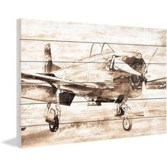 Marmont Hill Vintage Aero Painting Print on White Wood, Multicolor