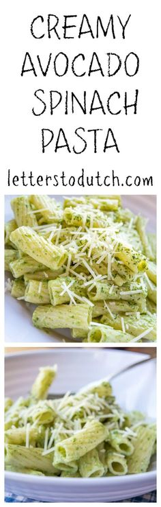 Creamy avocado and spinach pasta